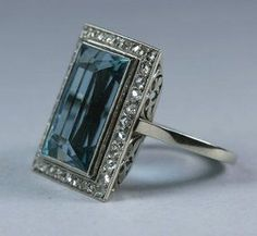 ~This French aquamarine and diamond ring is ca 1920~