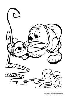 """Coloring Pages Nemo And Dory. Nemo is the main character of the 2003 animated adventure movie """"Finding Nemo,"""" released by Walt Disney Pictures and produced by Pixar Animation Studi. Finding Nemo Coloring Pages, Ocean Coloring Pages, Cartoon Coloring Pages, Disney Coloring Pages, Coloring Pages To Print, Coloring Book Pages, Coloring Pages For Kids, Boy Coloring, Pixar"""