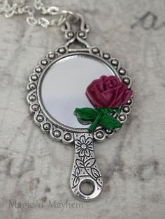 I adore beauty and the beast. Wish i coukd show my husband thus! Beauty and the Beast, rose mirror necklace Cute Jewelry, Jewelry Box, Jewelry Accessories, Jewellery, Jewelry Necklaces, Disney Poster, Tale As Old As Time, Disney Beauty And The Beast, Beauty Beast