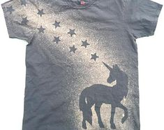Unicorn Shirt Cute Stars Original Handmade Tshirt Bleach Discharge T-Shirt Cotton Gray Tee Mens Womens