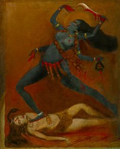 Indian Goddess Kali, Goddess Art, Durga Goddess, Indian Gods, Composition Painting, Kali Mata, Ganesh Images, Om Namah Shivaya, Indian Art Paintings