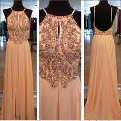 Light Peach Long Prom Dresses, Straps Prom Gowns,Beaded