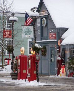 Small Town Diner at Christmas- This is somewhere in new Hampshire - because the inspection station sign outlines the old man in the mountain insignia.