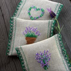 Dream of Provence - lavender sachets by Bela Stitches -- idea only -- no directions given Lavender Crafts, Lavender Bags, Lavender Sachets, Cross Stitching, Cross Stitch Embroidery, Embroidery Patterns, Hand Embroidery, Cross Stitch Designs, Cross Stitch Patterns