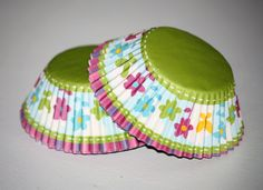 24 Flower and Butterfly Cupcake Liners, Spring Cupcake Papers, Green Blue Purple Baking Cups, Birthday Party, Princess Party.  via Etsy.