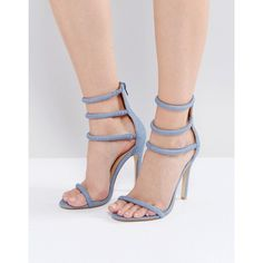 Public Desire Aisha Denim Strappy Heeled Sandals (495 ZAR) ❤ liked on Polyvore featuring shoes, sandals, blue, blue strappy sandals, strap sandals, blue denim sandals, open toe sandals and pom pom gladiator sandals