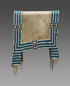 Saddle Blanket Date: ca. 1840 Geography: United States, North or South Dakota Culture: Lakota (Teton Sioux) Medium: Native-tanned leather, glass beads, wool cloth