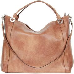 Gucci Light Brown Cuir Leather Miss GG Handle Bag Large