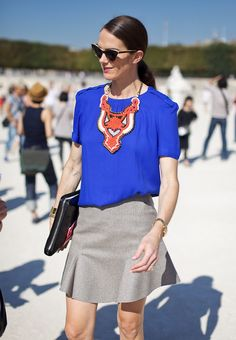 Wallpaper* Italy editor-at-large JJ Martin in cobalt blue and a statement necklace