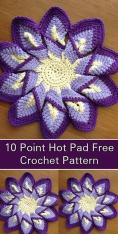 Classic 10 point hot pad - Free Crochet Pattern - looks harder than it really is! Turned out great! Crochet Coaster Pattern, Crochet Flower Patterns, Crochet Stitches Patterns, Crochet Motif, Crochet Designs, Knitting Patterns, Knitting Tutorials, Knit Stitches, Crochet Granny