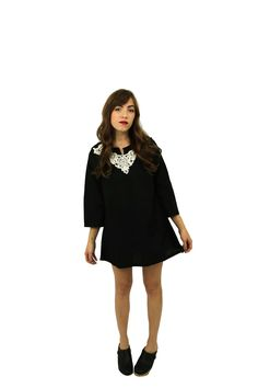 Black Tunic Dress with Ivory Lace Collar — a Lady of the Lake