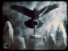Raven flying with Mjolnir by thecasperart on deviantART Norse Mythology Tattoo, Norse Tattoo, Viking Tattoos, Tatou Animal, Hugin Munin Tattoo, Thor Hammer Tattoo, Raven Flying, Rabe Tattoo, Norse Pagan