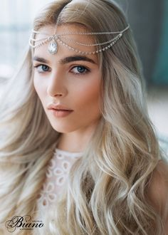 Wedding Chain Headpiece, Bridal Hair Jewelry, Chain Head Dress, Bohemian Luxe Headchain, Boho Bridal headpiece, Bohemian Headpiece by Bianoco on Etsy