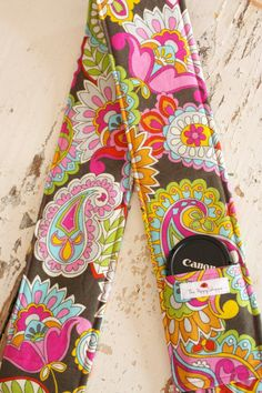 Camera Strap Cover with Lens Cap Pocket, Bright Paisley