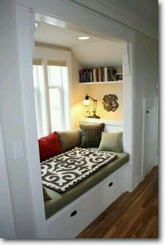 A reading nook. built in window seat Decor, Sweet Home, Interior, House, Window Seat, Home Decor, House Interior, Bed Nook, Home Deco