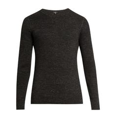 Vince Crew Neck Cotton Blend Sweater ($159) ❤ liked on Polyvore featuring men's fashion, men's clothing, men's sweaters, men's crewneck sweaters and mens crew neck sweaters
