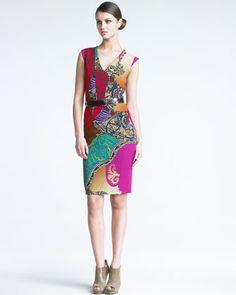 Paisley Sheath Dress & Golden-Detailed Belt by Etro at Neiman Marcus.