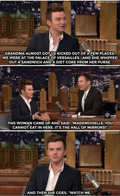 Chris Colfer's grandmother is my hero.<<<he looks so grown uppp Chris Colfer, Darren Criss, Bae, Glee Club, Jimmy Fallon, Best Shows Ever, Funny Stuff, Funny Things, Humor