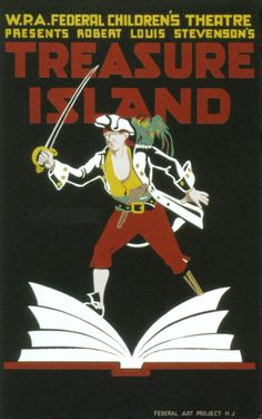 Vintage WPA Poster Treasure Island, 1930's art, children, classic, vintage #AdvertisingPosters, #TheatricalPosters