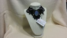 Black lace Collar/Choker with Lavendar Pearl Cabochons and Purple Cameo Pendant - CL1000123 by ShyCollections on Etsy
