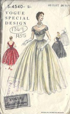 Patron de Couture Robe Vintage 1954 VOGUE B36 (1349)