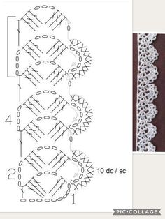 How to Crochet Wave Fan Edging Border Stitch - Crochet IdeasFind and save knitting and crochet schemas, simple recipes, and other ideas collected with love. Crochet Border Patterns, Crochet Lace Edging, Crochet Diagram, Crochet Chart, Crochet Trim, Filet Crochet, Crochet Designs, Easy Crochet, Knit Crochet