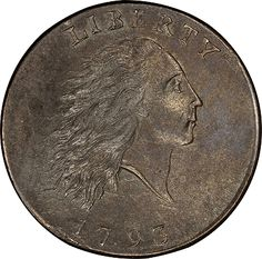 1793 Flowing Hair Cent. Sheldon-1. Chain, AMERI. Mint State-61 BN