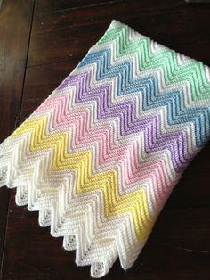 Pastel Chevron Baby Blanket on Etsy, $55.00
