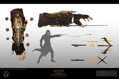 View an image titled 'Bracer Grappling Hook Art' in our Assassin's Creed Syndicate art gallery featuring official character designs, concept art, and promo pictures. Concept Art World, Weapon Concept Art, Armor Concept, Ninja Weapons, Sci Fi Weapons, Fantasy Weapons, Desenho Do Assassin's Creed, Armes Futures, Assassin's Creed Hidden Blade
