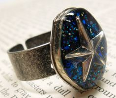 Blue Star Glitter Resin Ring  Made with Watch Case by wiggelhevin, $21.00