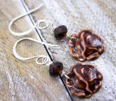 Dainty rustic rose earringsMetal & Glass by TerraRusticaDesign, $26.00