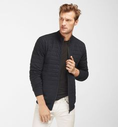 NAVY QUILTED JACKET - Massimo Dutti -