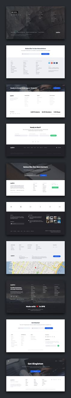 Singleton – perfect, fresh and stylish UI Kit for building beautiful Landing Pages. This clear and practical UI tool consists of 120 elegant cards in 12 categories. All components are vector. Website Design Layout, Web Layout, Layout Design, Best Ui Design, App Design, Footer Design, Web Design Projects, Ui Web, Website Design Inspiration