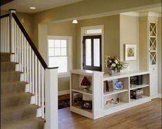 Half wall with open shelving