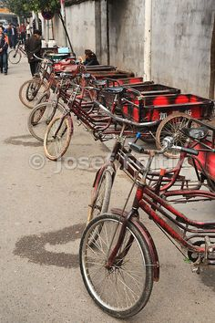 Freight tricycles, Fenghuang Town, Hunan, China