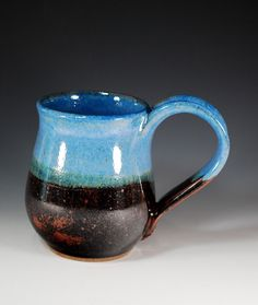 Mug / Stein - Blue and Black / Brown - Wheel Thrown Pottery in Stoneware Clay - Holds 16 oz.