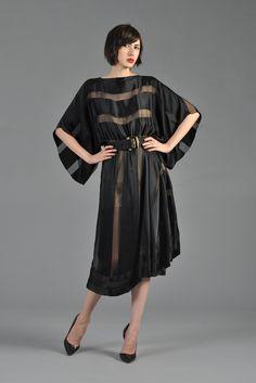 Sheer Black Silk Striped Dress with Kimono Sleeves | BUSTOWN MODERN