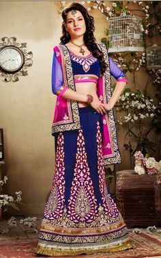 BLUE & PINK VISCOSE GEORGETTE LATEST LEHENGA - DIF 27184