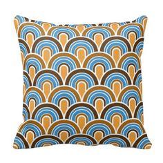 Geometric Retro Arches 6 Throw Pillow
