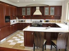 A horseshoe, or U-shaped, kitchen allows for a free flow of movement in your cooking space.