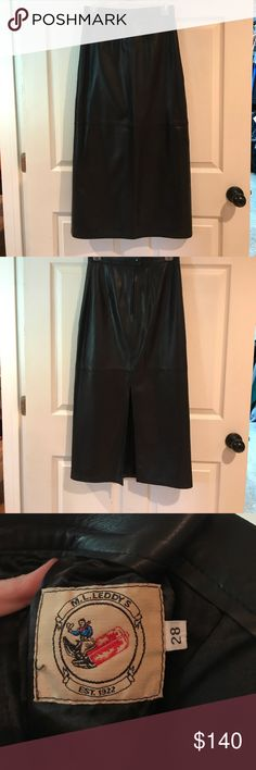 Genuine leather skirt! Beautiful! Amazing black leather skirt. It's beautiful! It's the softest leather. Purchased from a upscale store in Fort Worth, TX. Says size 28 but runs small. More like a 26. Perfect for fall and winter. Boots or heels. Sweater or blouse ML Leddy Skirts Pencil