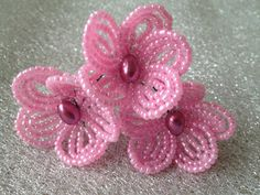 FREE SHIPPING  Strawberry French Beaded by FloralUniqueDesign