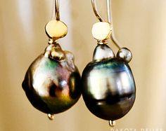 Baroque Pearl 18k Gold Earrings - Tahitian Pearl Earrings - South Sea Pearl Gold Jewelry - Freeform Baroque Pearls - Pearl Statement Piece