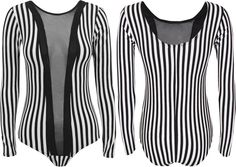 Oromiss Ladies Womens Striped Black&White Leotard Mesh Body Long Sleeve Sheer V Neck Top Bodysuit Suit Sexy Party Stripes