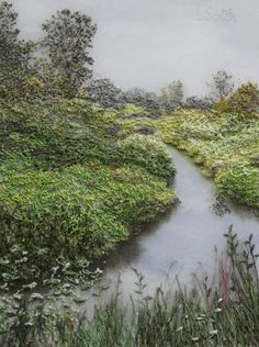 Always Greener Machine and hand embroidery on hand-painted silk 4 x 3 inches This is a view of DeBoville Slough in Port Coquitlam, BC, Canada Louise Smith