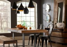 Graham Industrial Dining Table   Zin Home - get bench for one side, use Tolix chairs for other side and ends