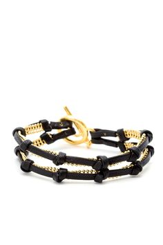Gorjana - Double Strand Reversible Chain & Leather Bracelet