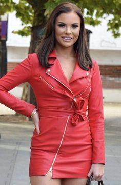 Stylish Outfits, Fashion Outfits, Womens Fashion, Fashion Beauty, Nylons, Leather Dresses, Leather Outfits, Leather Jacket, Red Leather
