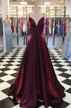Simple Burgundy Satin V Neck Long Evening Dress, Prom Dress