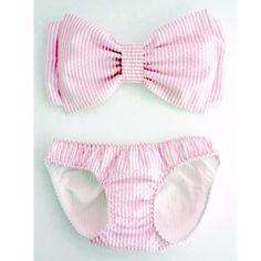 super cute pink seersucker bow bikini